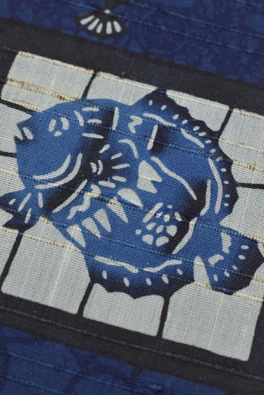 城間栄市 紅型 藍型 九寸名古屋帯